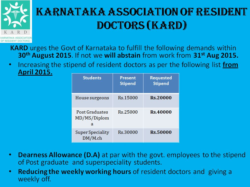 Resident Doctors In Karnataka may go on a strike from 31st August