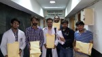 Resident Doctors at AIIMS carrying signed declarations for the implementation of Central Residency Scheme
