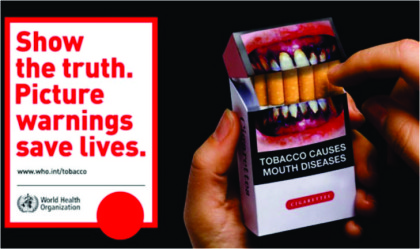 From 2016, 85 percent Anti Tobacco pictorial warnings on tobacco packaging