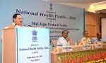 "The Union Minister for Health & Family Welfare, Shri J.P. Nadda releasing the ""National Health Profile-2015"", published by the Central Bureau of Health Intelligence (CBHI), in New Delhi on September 22, 2015. The secretary, Ministry of Health and Family Welfare, Shri B.P. Sharma and the DGHS, Dr. (Prof.) Jagdish Prasad are also seen."
