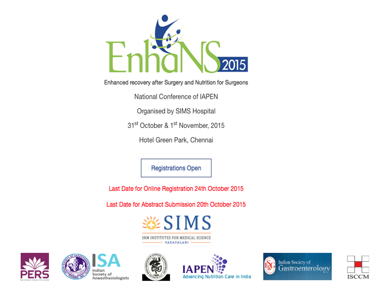 A national conference on ERAS (enhanced recovery after surgery) and surgical nutrition in Chennai on 31st October
