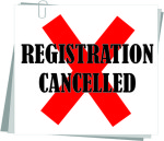 REGISTRATION CANCELED.
