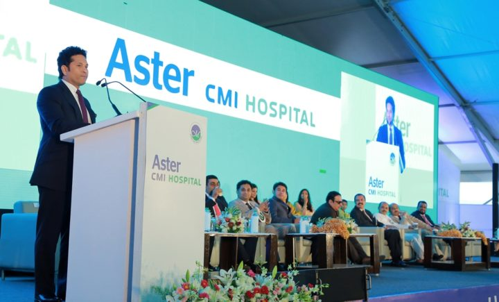 Shri Sachin Tendulkar addressing the gathering at Aster CMI Inauguration (1)