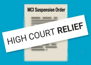 High Court Relief to Doctors Suspended by Medical Council Of India