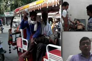 UP: Man carries son in e-rickshaw due to unavailability of ambulance