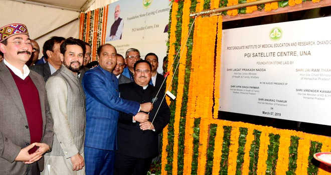 Foundation stone for 300 bedded satellite centre of PGI laid in Una